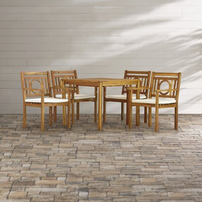 Graves 5 Piece Dining Set with Cushions Finish: Teak  Brown