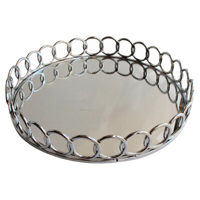 Brayden Studio Lindgren Mirrored Tray in Silver