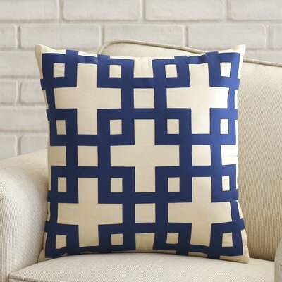 Bright Squares Cotton Throw Pillow Size: 22 H x 22 W x 4 D, Color: Antique White / Dark Blue, Filler: Down