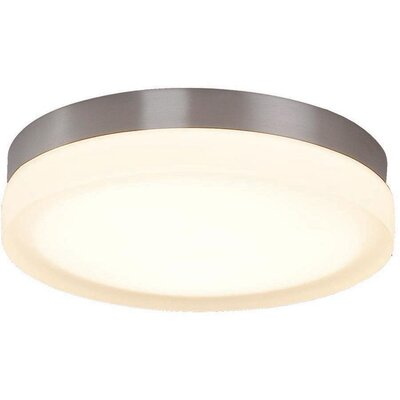 Clack 1-Light Flush Mount Finish: Brushed Nickel, Bulb Color Temperature: 2700K, Size: 9