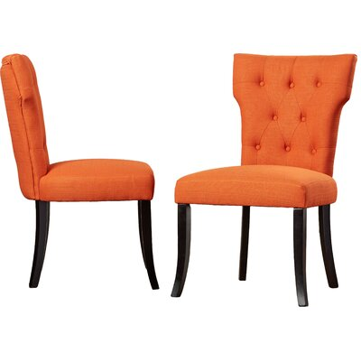 Vangilder Parsons Upholstered Dining Chair Upholstery Color: Orange
