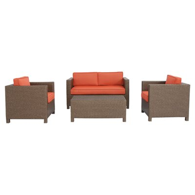 Luciano 4 Piece Seating Group with Cushions Fabric: Terracotta