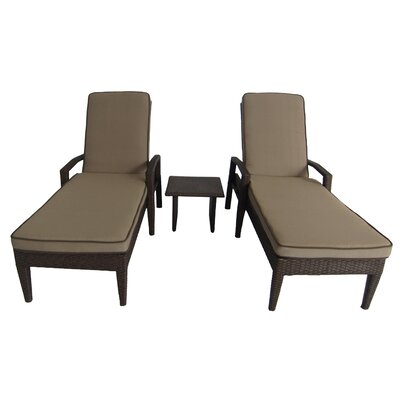 Luciano 3 Piece Chaise Lounge Set with Cushions
