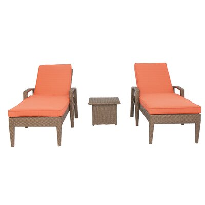 Luciano 3 Piece Chaise Lounge Set with Cushions Color: Orange