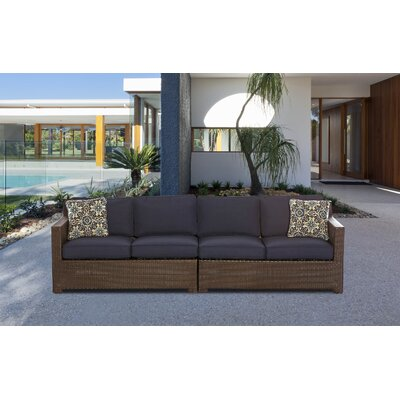 Abraham 2-Piece Loveseat Seating Group with Cushion Color: Navy Blue