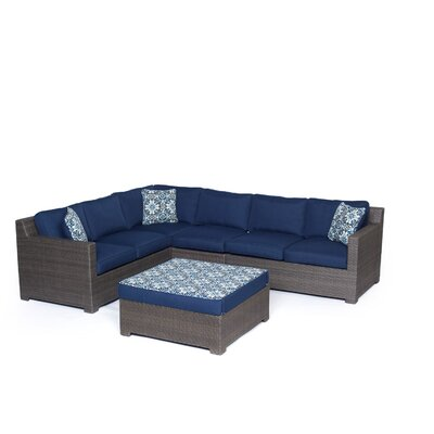 Abraham 5 Piece Lounge Seating Group with Cushion Fabric: Navy Blue