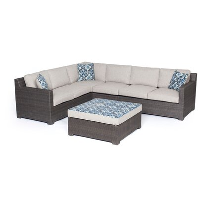 Abraham 5 Piece Lounge Seating Group with Cushion Fabric: Silver Lining