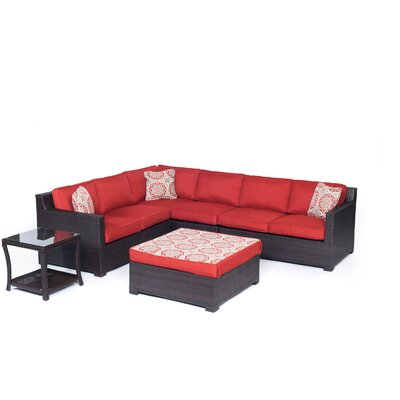 Abraham 6 Piece Lounge Seating Group Set with Cushion Fabric: Autumn Berry