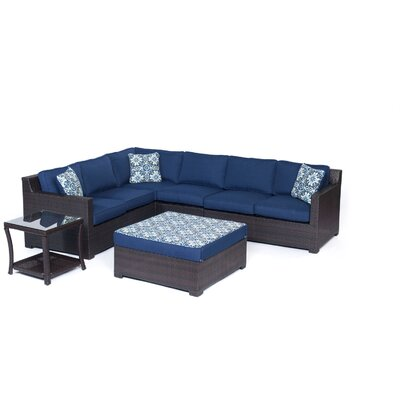 Abraham 6 Piece Lounge Seating Group Set with Cushion Fabric: Navy Blue