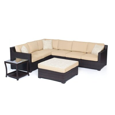 Abraham 6 Piece Lounge Seating Group Set with Cushion Fabric: Sahara Sand