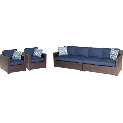 Abraham 4 Piece Deep Seating Group with Cushion Color: Navy Blue