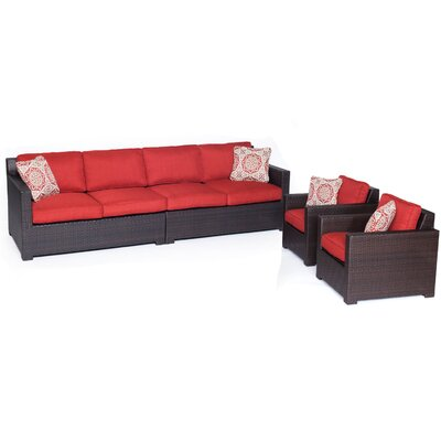 Abraham 4 Piece Deep Seating Group with Cushion Color: Autumn Berry