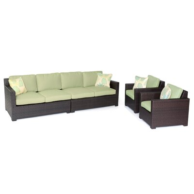 Abraham 4 Piece Deep Seating Group with Cushion Color: Avocado Green