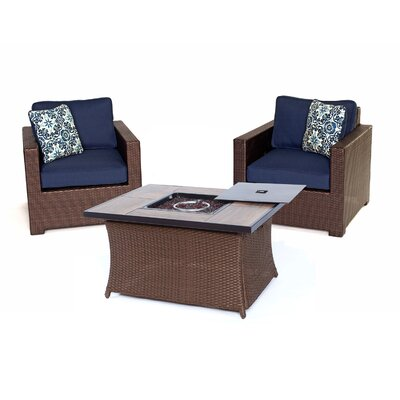 Abraham 3 Piece Deep Seating Group with Cushion Color: Navy Blue