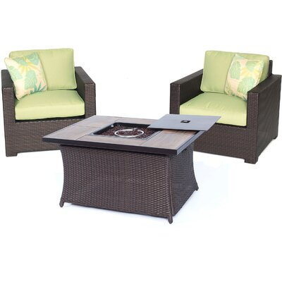 Abraham 3 Piece Deep Seating Group with Cushion Color: Avocado Green