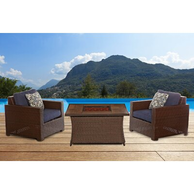Abraham Woven Fire Pit 3 Piece Deep Seating Group with Cushion Fabric: Navy Blue