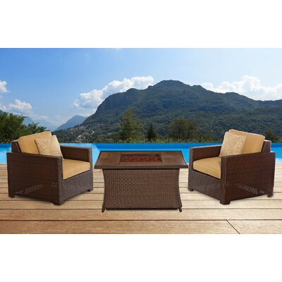 Abraham Woven Fire Pit 3 Piece Deep Seating Group with Cushion Fabric: Sahara Sand