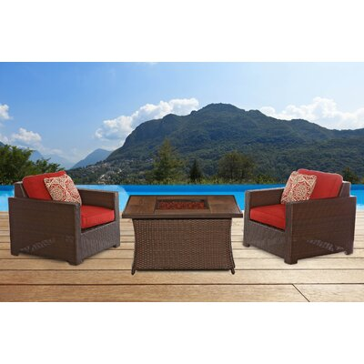 Abraham Woven Fire Pit 3 Piece Deep Seating Group with Cushion Fabric: Autumn Berry