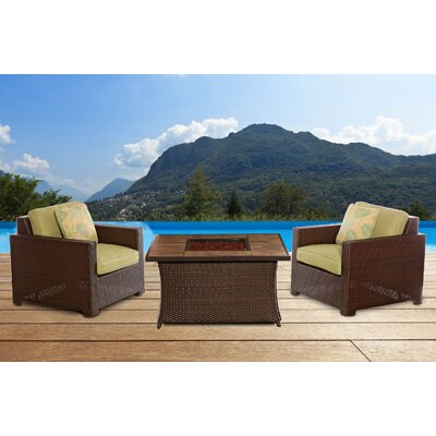 Abraham 3 Piece Deep Seating Group with Cushion Fabric: Avocado Green