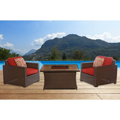 Abraham 3 Piece Deep Seating Group with Cushion Fabric: Autumn Berry