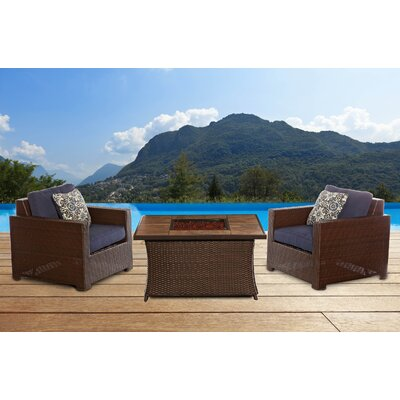 Abraham 3 Piece Deep Seating Group with Cushion Fabric: Navy Blue