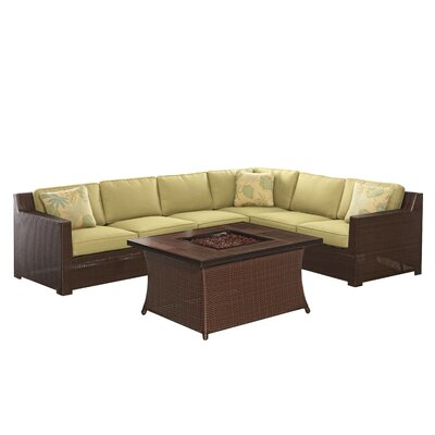 Abraham 5 Piece Deep Seating Group with Cushions Fabric: Avocado Green