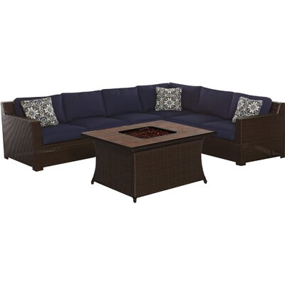 Abraham 5 Piece Deep Seating Group with Cushions Fabric: Navy Blue