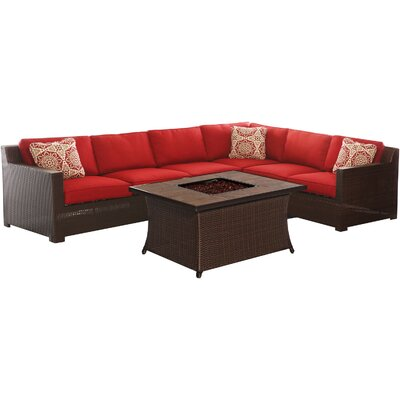 Abraham 5 Piece Deep Seating Group with Cushions Fabric: Autumn Berry