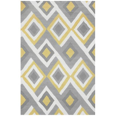 Sorrento Hand-Hooked Gray/Yellow Area Rug Rug Size: 5 x 8