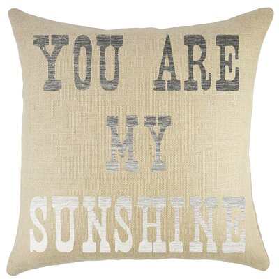 Amburgey You are My Sunshine Burlap Throw Pillow Color: Silver