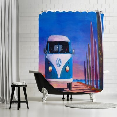 Markus Bleichner Degeorge  Surf Bus T1 Kombie Bulli at Surf Board Road Shower Curtain