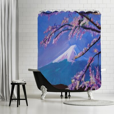 Markus Bleichner Barreto Mount Fuji with Lake and Almond Blossom Time Shower Curtain