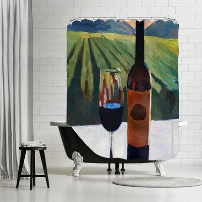 Markus Bleichner Siniard Napa Valley Wine Bottle and Glass Shower Curtain