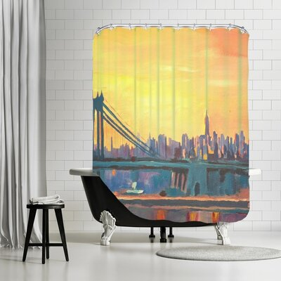 Markus Bleichner Husted Blue Manhattan Skyline with Bridge and Vanilla Sky 2 Shower Curtain