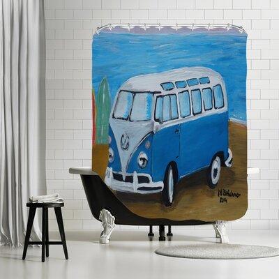 Markus Bleichner Blount Blue Surfbus with Surf Boards Shower Curtain