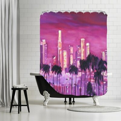 Markus Bleichner Roberge Los Angeles Golden Skyline l Shower Curtain
