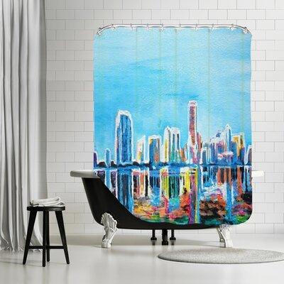 Markus Bleichner Woolford Miami Skyline Silhouette Shower Curtain