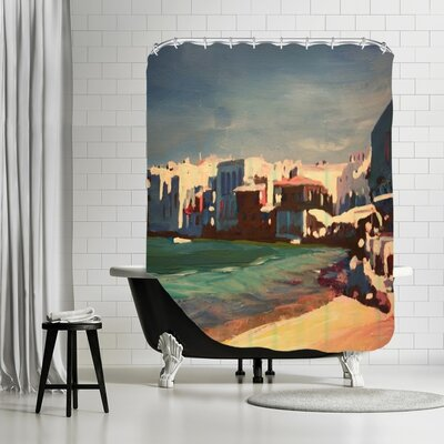 Markus Bleichner Heitman Mykonos Greece Little Venice Seascape Shower Curtain