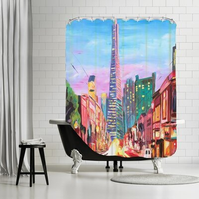 Markus Bleichner Crain San Francisco Columbus St. with Cafe Vesuvio and Transamerica at Dawn Shower Curtain