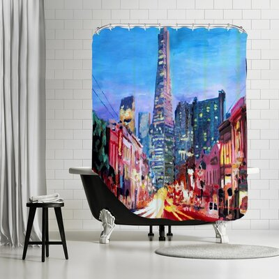Markus Bleichner Juliano San Francisco Columbus St. with Cafe Vesuvio and Transamerica at Dawn Shower Curtain