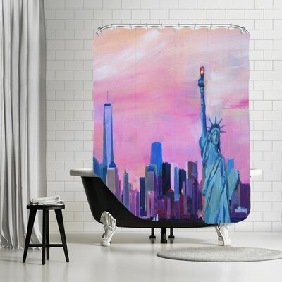 Markus Bleichner Swasey Manhattan Skyline with Skyline and Statue of Liberty Shower Curtain