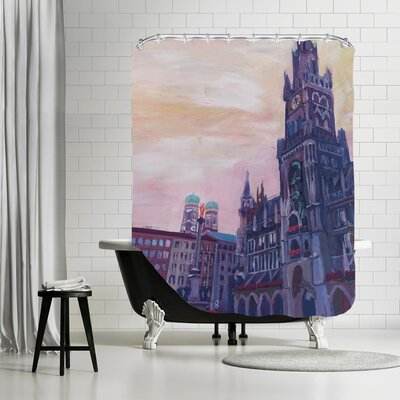 Markus Bleichner Hosier Munich Marienplatz with Church of our Lady at Sunset Shower Curtain