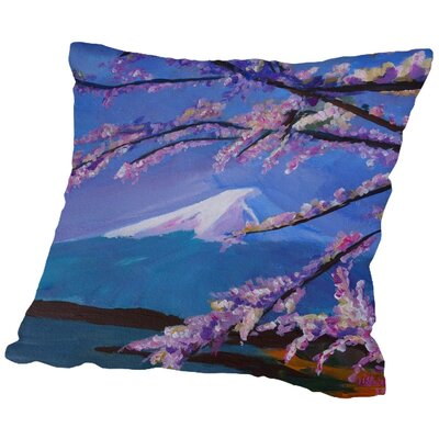 Markus Bleichner Maresca Mount Fuji with Lake and Almond Blossom Time Throw Pillow Size: 16 H x 16 W x 2 D