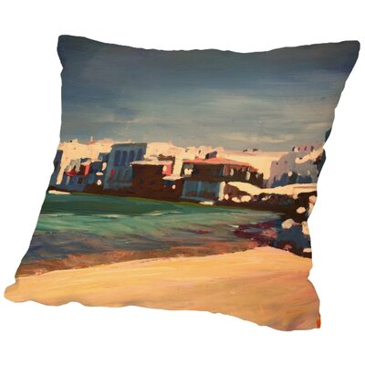 Markus Bleichner Scotti Mykonos Greece Little Venice Seascape Throw Pillow Size: 18 H x 18 W x 2 D
