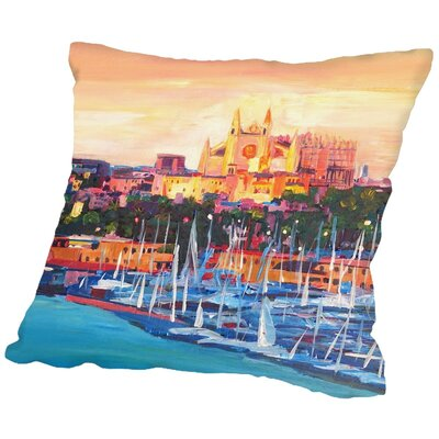 Markus Bleichner Felice Spain Balearic Island Palma De Mallorca with Harbour and Cathedral Neu Throw Pillow Size: 16 H x 16 W x 2 D