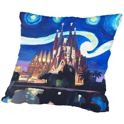 Markus Bleichner Naylor Starry Night in Barcelona Throw Pillow Size: 18 H x 18 W x 2 D
