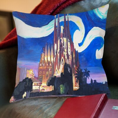 Markus Bleichner Naylor Starry Night in Barcelona Throw Pillow Size: 16 H x 16 W x 2 D