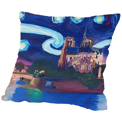 Markus Bleichner Mendosa Starry Night in Paris Throw Pillow Size: 16 H x 16 W x 2 D