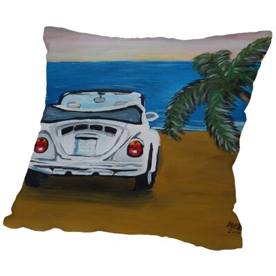Markus Bleichner Pastrana White Beach Bug with Palm Throw Pillow Size: 18 H x 18 W x 2 D