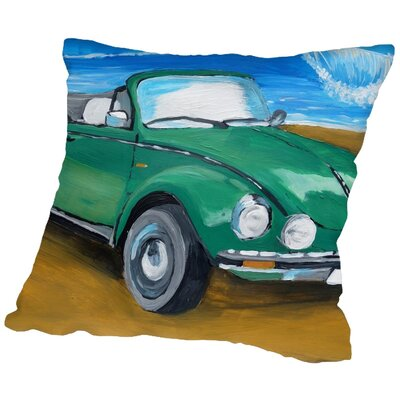 Markus Bleichner Harbuck Green Bug at Beach Throw Pillow Size: 16 H x 16 W x 2 D